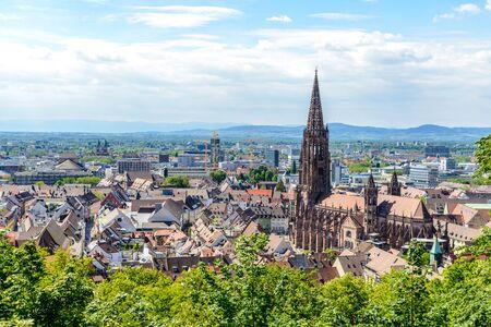 Aerial view on Freiburger Munster Cathedral church. Freiburg im Breisgau, Baden-Wurttemberg, Germany.