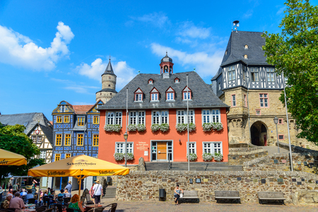 29 August 2019: Town Hall, Hexenturm. Colorful Half-timbered (Fachwerkhaus) house, houses on marketplace in Idstein, Hessen (Hesse), Germany. Nearby Frankfurt am Main, Wiesbaden Sajtókép