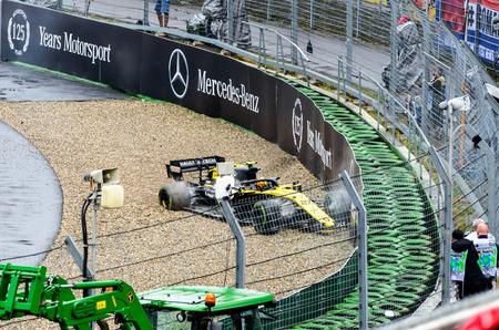 Formula 1 German GP in Hockenheim 28 July 2019: Nico hulkenberg accident