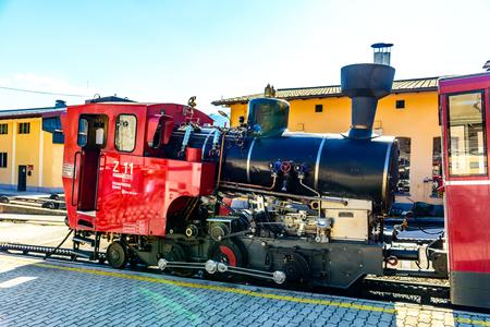 23 July 2019: Train of Schafberbahn in Sanktwolfgang im Salzkammergut on lake Wolfgangsee. Austria, Salzburg