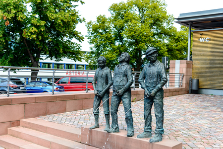 8 August 2019: Sculpture in on old german town Miltenberg am Main river, Odenwald, Bavaria, Germany