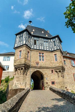 29 August 2019: Colorful Half-timbered (Fachwerkhaus) house, houses on marketplace in Idstein, Hessen (Hesse), Germany. Nearby Frankfurt am Main, Wiesbaden Редакционное