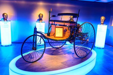 7 July 2019 - Museum EFA Mobile Zeiten in Amerang, Germany: Benz Patent Motorwagen 1886. Retro car, oldtimer