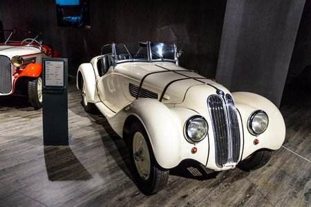7 July 2019 - Museum EFA Mobile Zeiten in Amerang, Germany: BMW 328 Roadster 1937 - 1939. Retro car, oldtimer