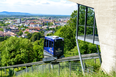 Freiburg, Germany - Mai 30 2019: Schlossbergbahn and city view of Freiburg im Breisgau, Baden-wurttemberg, Germany