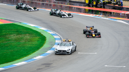 Formula 1 German GP in Hockenheim 28 July 2019: Pace car with Red Bull, mercedes, Max Versappen, Lewis, Hamilton, Laltteri Bottas Editorial