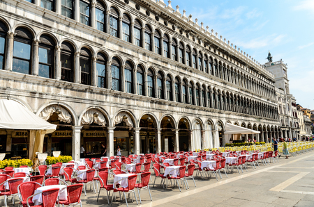11 July 2013: Restaurants on Piazza San Marco, Saint Mark place in Venice, Italy