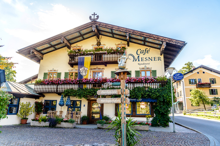 5 July 2019: Haus Cafe mesner  in Schliersee. Beautiful bavarian  house. Bavaria, Germany Editorial