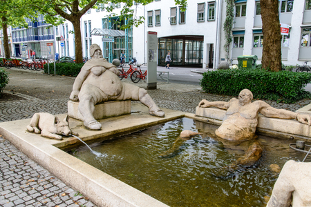 Konstanz, Germany - 3 July 2018: Fountain in Konstanz on the Bodensee lake Constance. Baden-Wurttemberg, Germany Editorial
