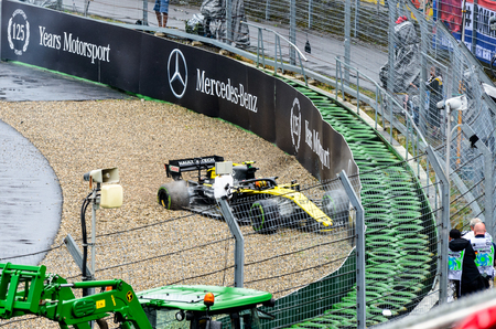 Formula 1 German GP in Hockenheim 28 July 2019: Nico hulkenberg accident