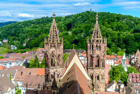 Aerial view from Freiburger Munster Cathedral Church. City of Freiburg im Breisgau, Germany..