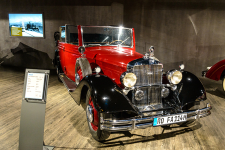 7 July 2019 - Museum EFA Mobile Zeiten in Amerang, Germany: Horch 850 Pullman Cabrio 1935 - 1937. Retro car, oldtimer Editorial