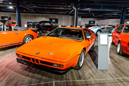 7 July 2019 - Museum EFA Mobile Zeiten in Amerang, Germany: BMW M1 Coupe 1979 - 1981. Retro car, oldtimer Editorial