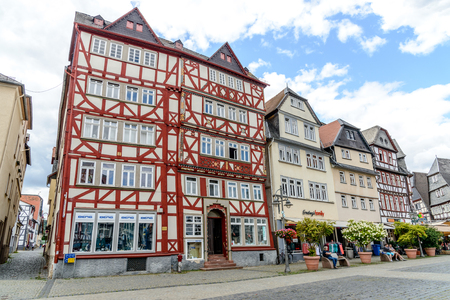 1 August 2019: Market place (Marketplace, Marktplatz) with half-timbered colorful houses in Butzbach, Hessen, Germany Editorial