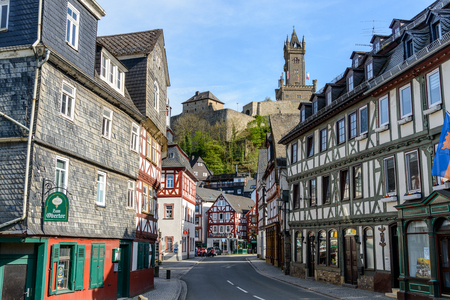 Dillenburg, Germany April 22 2019: View on Castle Dillenburg, half-timbered houses. Hessen, Germany Editorial