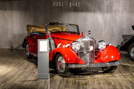 7 July 2019 - Museum EFA Mobile Zeiten in Amerang, Germany: Mercedes Benz 500 Cabriolet B  1935 - 1936. Retro car, oldtimer Editorial