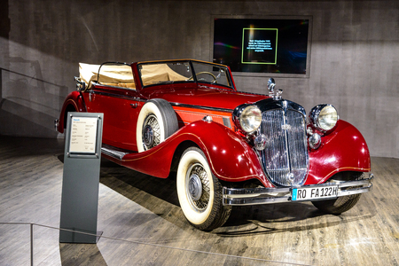 7 July 2019 - Museum EFA Mobile Zeiten in Amerang, Germany: Horch 853 Sportcabriolet 1937. Retro car, oldtimer