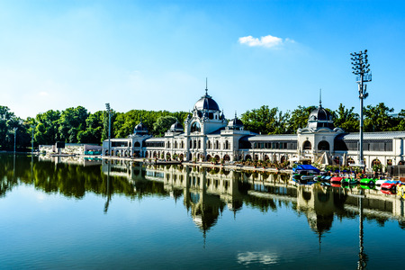 Boating lake with palace reflection in Main City Park in Budapest, Hungary