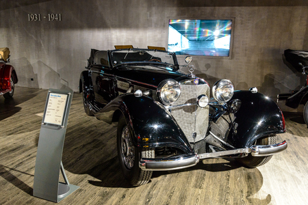 7 July 2019 - Museum EFA Mobile Zeiten in Amerang, Germany: Mercedes Benz 540 Cabrio  K 1936 - 1939. Retro car, oldtimer