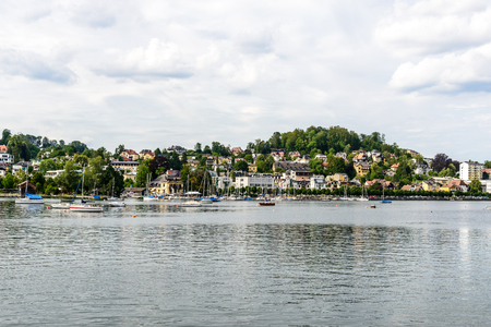 View from Castle Ort ion town Gmunden,  Traunsee (lake Traun) with boats, Sailboats in  Salzkammergut nearby Salzburg, Traunkirchen Austria.