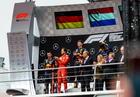 Formula 1 German GP in Hockenheim 28 July 2019: Driver Podium. Max Verstappen Winner, Sebastian Vettel, Daniil Kvyat Editorial