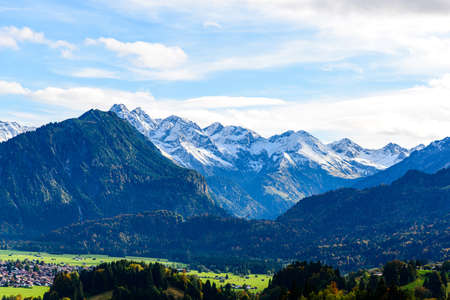 Panorama view from Obersdorf in Allgau, Bavaria, Bayern, Germany. Alps in Tyrol, Mountains of good hope, Rotgrundspitze, Rappenseekopf. Austria Stock fotó