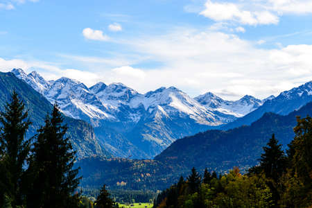 Panorama view from Obersdorf in Allgau, Bavaria, Bayern, Germany. Alps in Tyrol, Mountains of good hope, Rotgrundspitze, Rappenseekopf. Austria Banco de Imagens