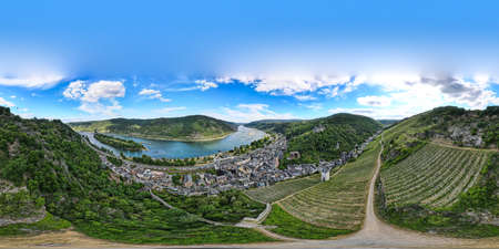 360 panorama of Bacharach am Rhein. Small town on the Upper Middle Rhine River (Mittelrhein). Beautiful aerial panoramic postcard view with a church. Rhineland-Palatinate (Rhineland-Palatinate), Germany.