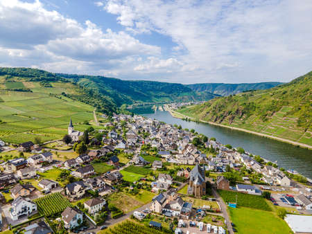 Ellenz-Poltersdorf aerial view, nearby Burg Metternich in the town Beilstein on romantic Moselle, Mosel river. Rhineland-Palatinate, Germany