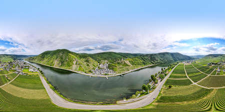 Burg Metternich in the town Beilstein on romantic Moselle, Mosel river. 360 degree panorama view. Rhineland-Palatinate, Germany