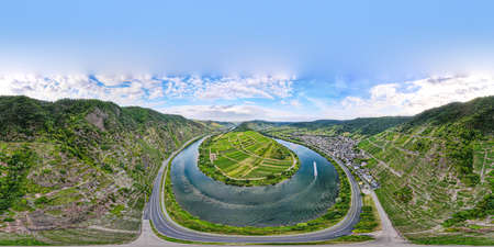 Loop of Bremm from Calmont on the romantic Moselle, Mosel river. 360 degree aerial panorama view. Rhineland-Palatinate, Germany