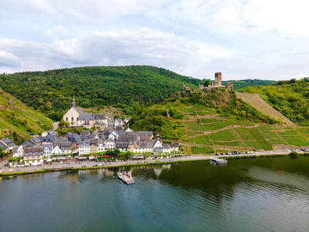 Burg Metternich in the town Beilstein on romantic Moselle, Mosel river. Aerial view. Rhineland-Palatinate, Germany