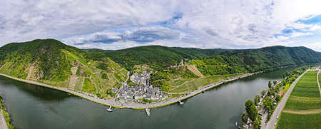 Burg Metternich in the town Beilstein on romantic Moselle, Mosel river. 180 degree panorama view. Rhineland-Palatinate, Germany Banco de Imagens