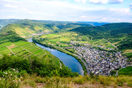 Loop of Bremm from Calmont on the romantic Moselle, Mosel river. Rhineland-Palatinate, Germany