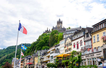 July 18, 2020: Cochem. Beautiful historical town on romantic Moselle, Mosel river. City view with Reichsburg castle on a hill. Rhineland-Palatinate, Germany.
