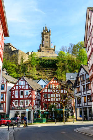 Dillenburg, Germany - April 22nd 2019: View on Castle Dillenburg, half-timbered houses. Hessen, Germany Editorial