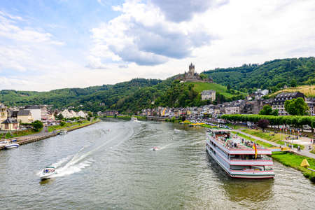 Cochem. Beautiful historical town on romantic Moselle, Mosel river. City view with Reichsburg castle on a hill. Rhineland-Palatinate, Germany, Editorial