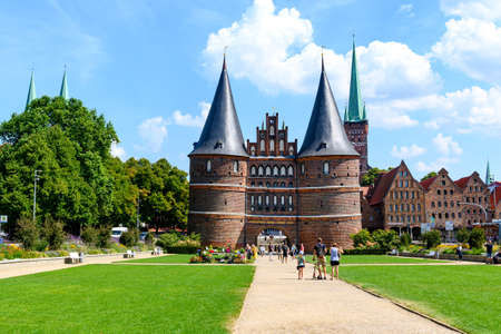 Holsten gate in Lübeck, most popular gate in Germany. Text on the gate in English: Harmony inside, peace outward
