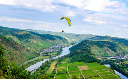 Loop of Bremm from Calmont on the romantic Moselle, Mosel river. Paraglider flight. Rhineland-Palatinate, Germany