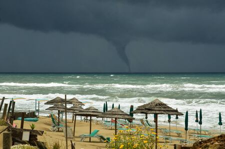 waterspout: threatening water-spout on the sea