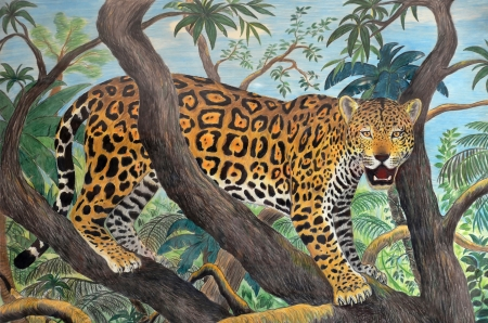 naif: pastel drawing of leopard in the amazonian jungle