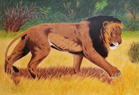 naif: oil painting of lion in savannah Stock Photo