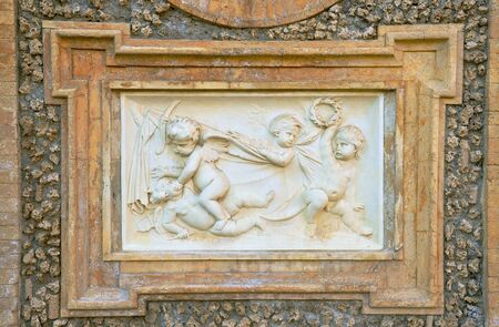 historical periods: bass-relief with figures of cherubs