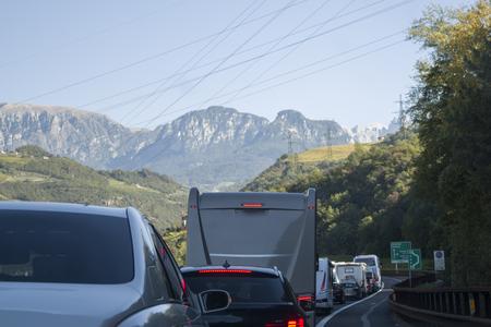 Traffic jam on the highway 版權商用圖片