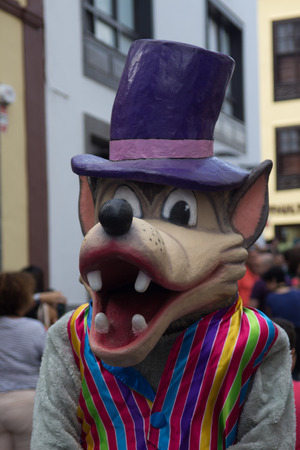 sc: A portrait of a carnival suit of wolf in the streets of SC de La Palma (Canary Islands)