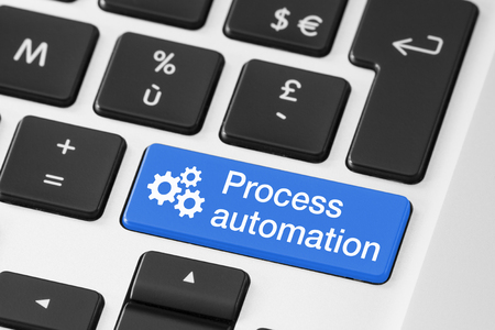 repeatability: Process automation concept, close-up of button on computer keyboard, technology and business