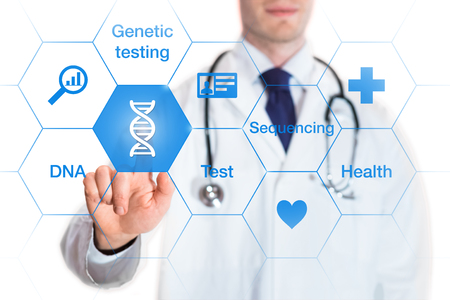 Genetic testing concept with DNA icon and words on a screen and a medical doctor touching a button, isolated on white background