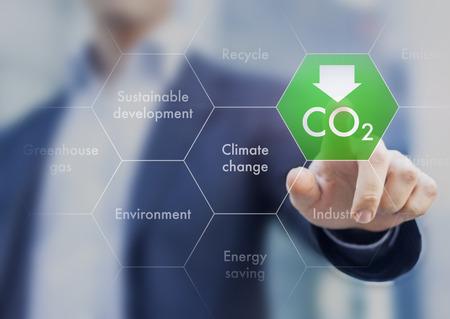 Reducir las emisiones de gases de efecto invernadero para el cambio climático y el desarrollo sostenible Foto de archivo