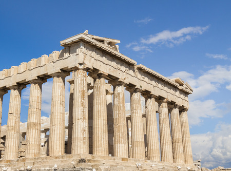 antiquity: Parthenon in Acropolis, Athens, with blue sky and clouds, temple of Athena goddess built during antiquity, main landmark of Greece