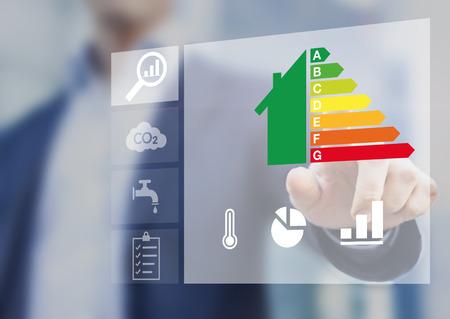 Energie-efficiëntieclassificatie van gebouwen voor duurzame ontwikkeling Stockfoto